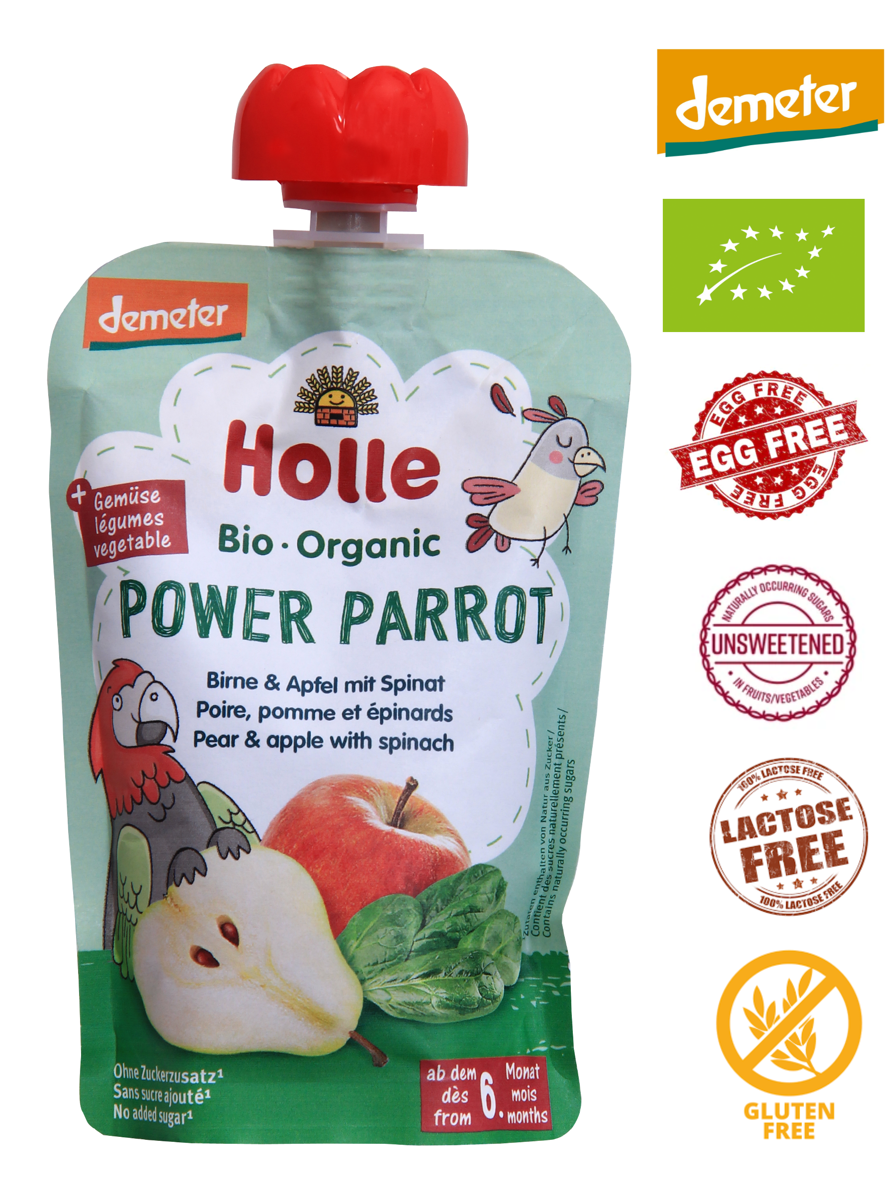 Holle Organic Puree: Power Parrot - Pear & Apple with Spinach Baby Food from 6 months (100g)