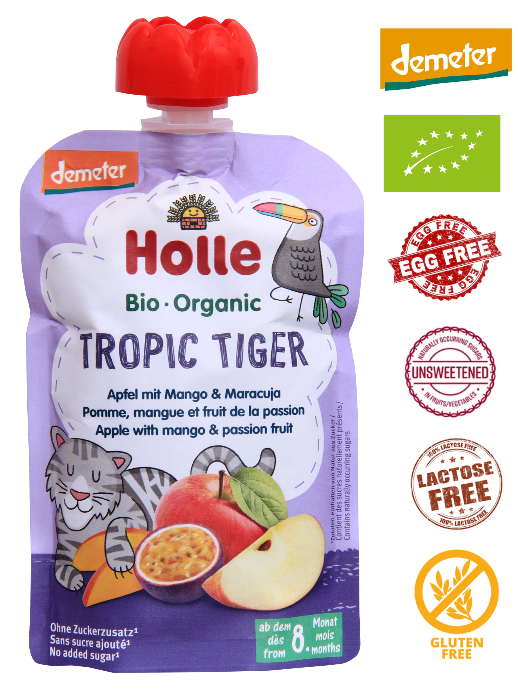 Holle Organic Puree: Tropic Tiger - Apple with Mango & Passion Fruit Baby Food from 8 months (100g)
