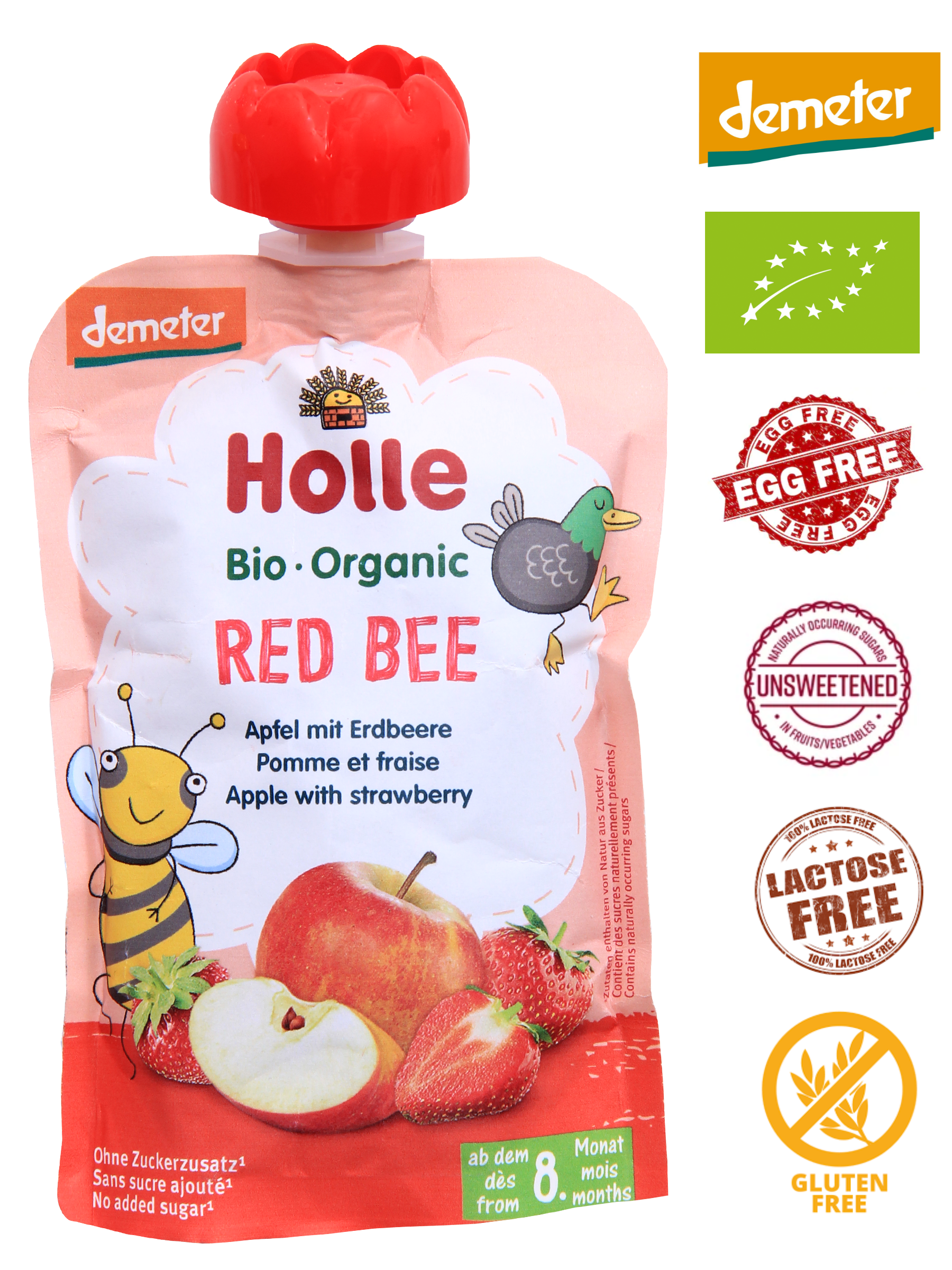 Holle Organic Puree: Red Bee - Apple & Strawberry Baby Food from 8 months (100g)