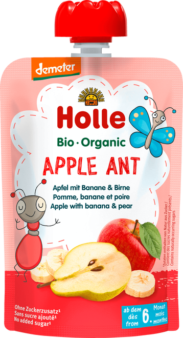 Holle Organic Puree: Apple Ant - Apple, Banana & Pear Baby Food from 6 months (100g)