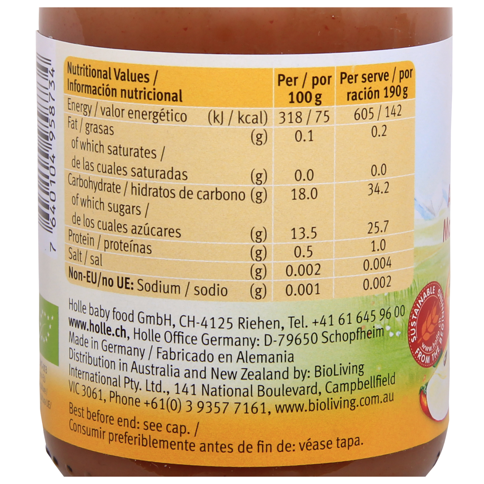 Holle Organic Jar: Apple and Plum Baby Food from 6 months (190g)
