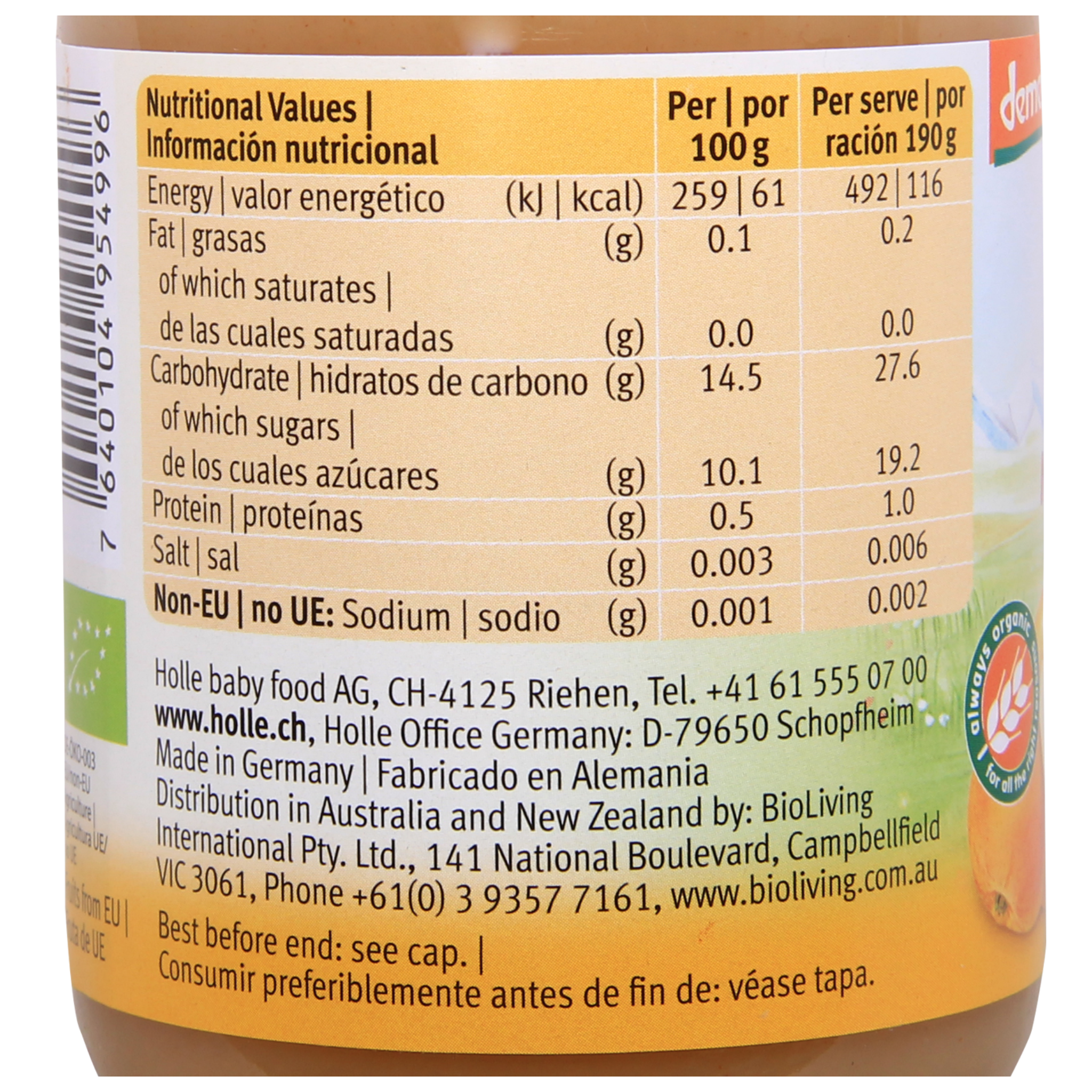 Holle Organic Jar: Apple and Pear Baby Food after 4 months (190g)