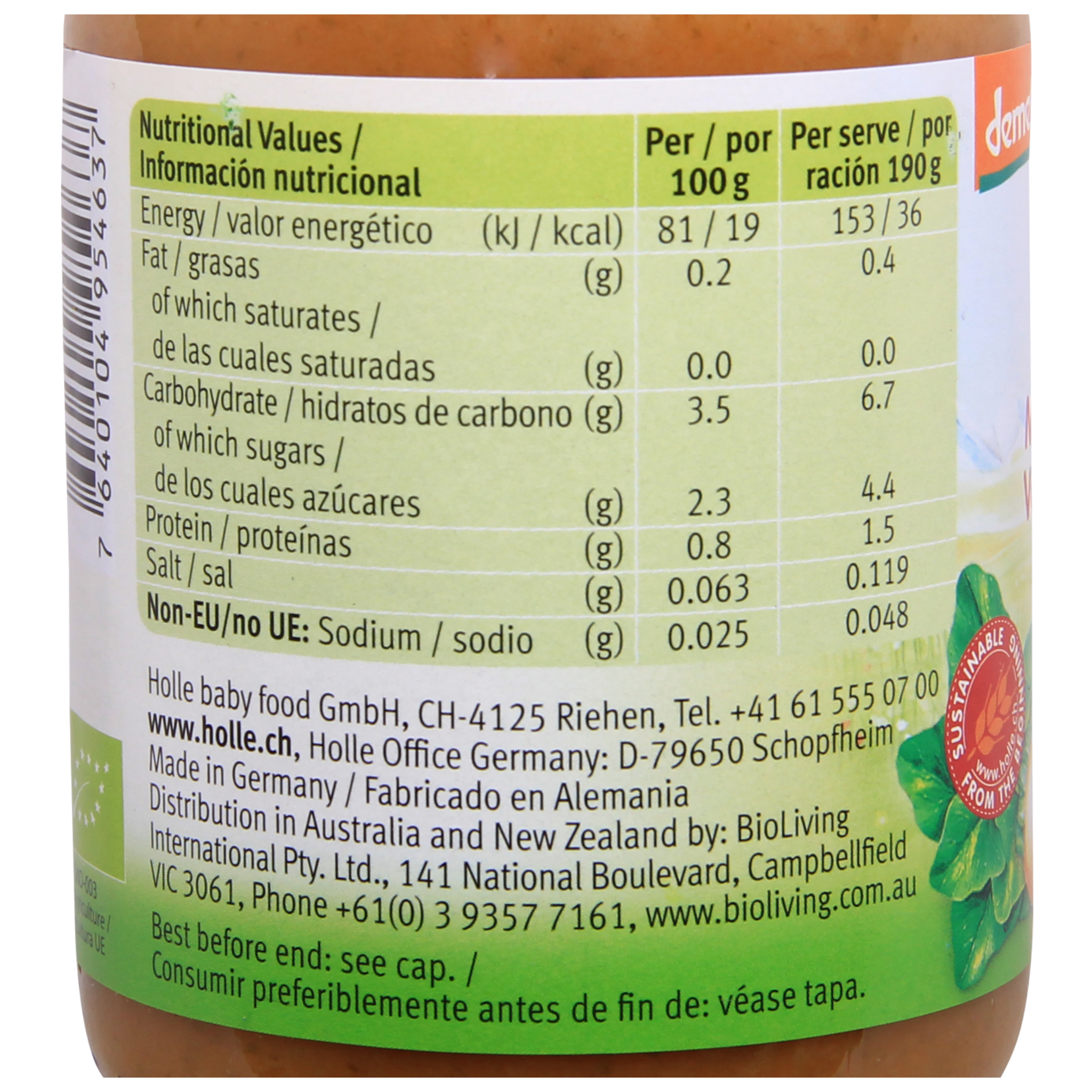 Holle Organic Jar: Mixed Vegetables Baby Food from 6 months (190g)