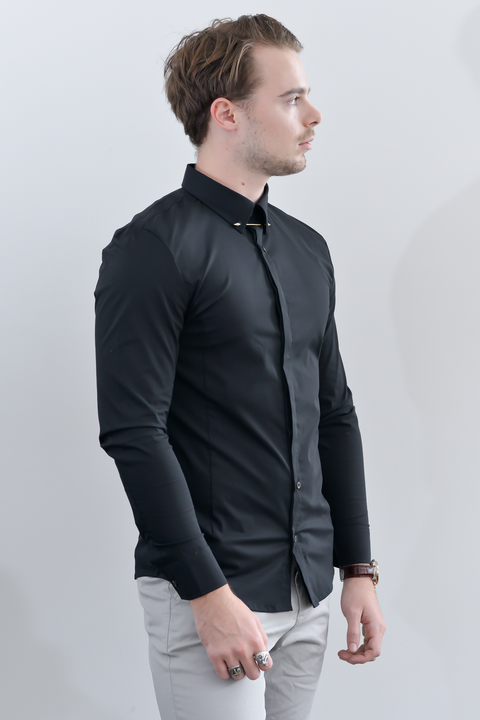 PANTHER Long Sleeve Slim Fit Shirt - Black