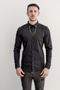 LEO Long Sleeve Slim Fit Shirt - Black