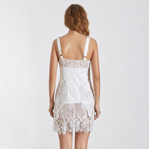 Intimate Lace Patchwork High Waist Sleeveless Mini