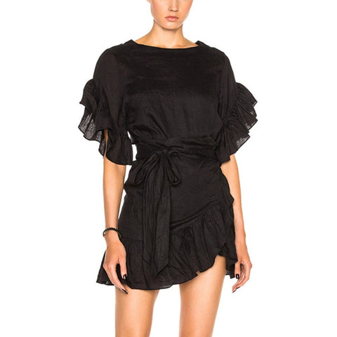 Casual Ruffles Petal Sleeve Single Sleeve Mini