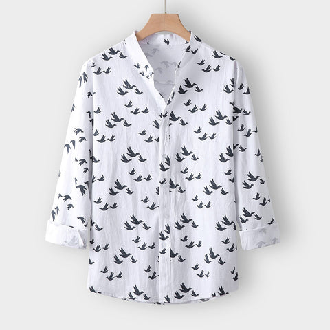 Casual Long Sleeve Avifauna Beach Camisa