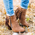 Ankle Tassel Retro Low Heel Booties