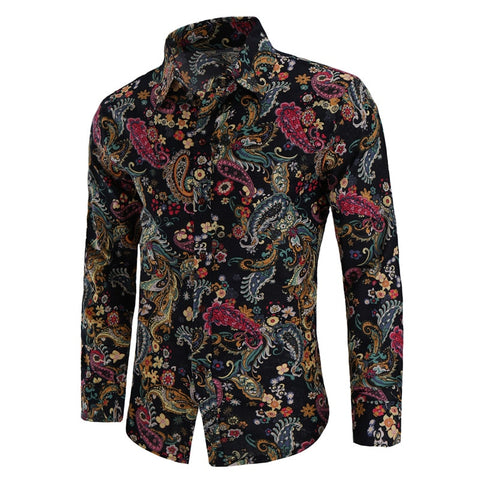 KOLMA Class Floral Print Slim Fit Long Sleeve Shirt