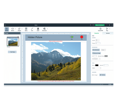 Boardmaker 7 Editor featuring picture of mountains