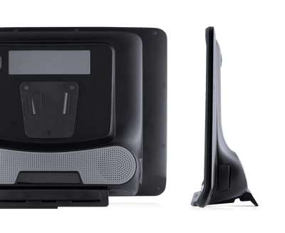 Tobii Dynavox I-16 AAC device rear view featuring Partner Window, speaker, mounting plate and Adjustable Base