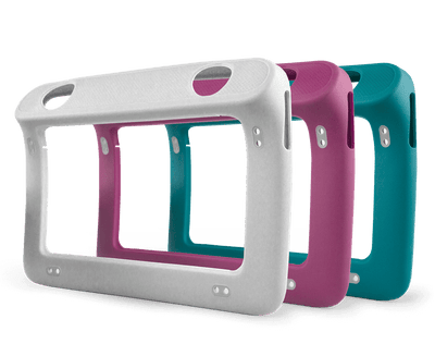 Tobii Dynavox Indi Durable cases in gray, raspberry, and teal