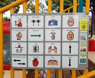 PCS by Tobii Dynavox printed and laminated for a communication board at a park.
