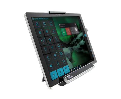Tobii Dynavox EyeMobile Plus side view including Surface Pro tablet featuring Windows Control software