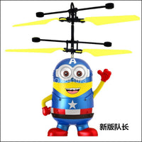Halolo Minion drone RC Helicopter Aircraft Mini drone Fly Flashing helicopter Hand Control RC Toys Quadcopter Dron LED Kids Toys