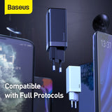 Baseus GaN Charger 45W PD USB Charger Quick Charge 4.0 3.0 Dual USB Phone Charger ForiP For Huawei Mate 10 For Samsung Laptop