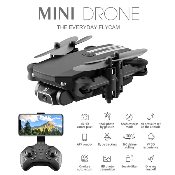 Mini RC Drone w/ 4K 1080P HD Camera WiFi FPV UAV Aerial Photography Helicopter Foldable LED Light Quadcopter Remote Control Dron