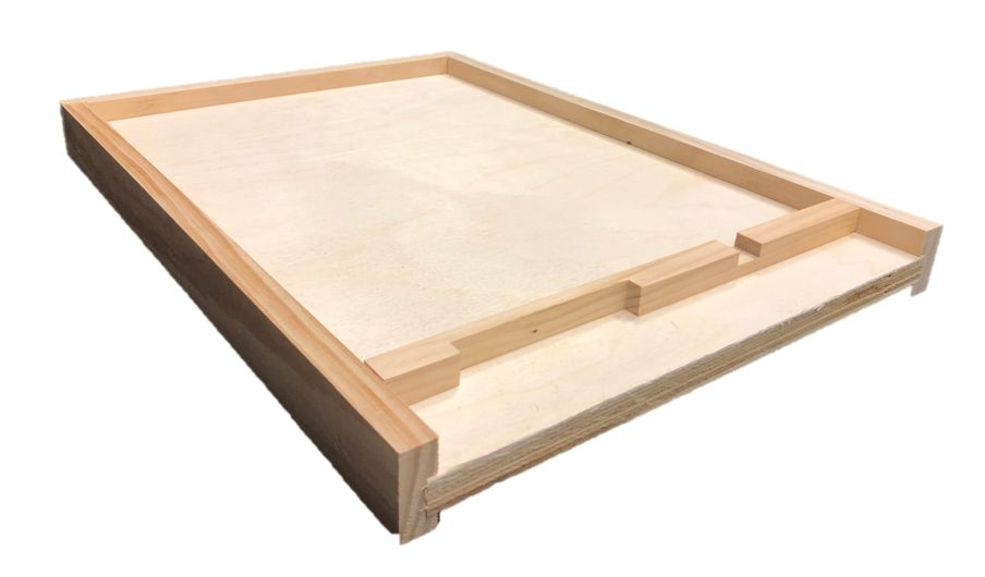 8 Frame Unfinished Pine Bottom Board w/Entrance Reducer