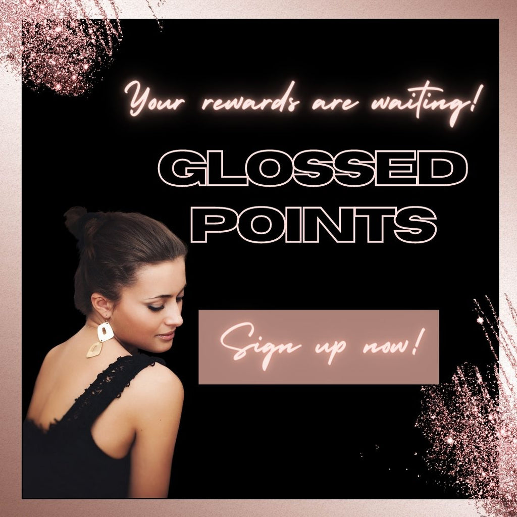 Glossed Points rewards program poster black and rose gold glitter graphic with dark haired model
