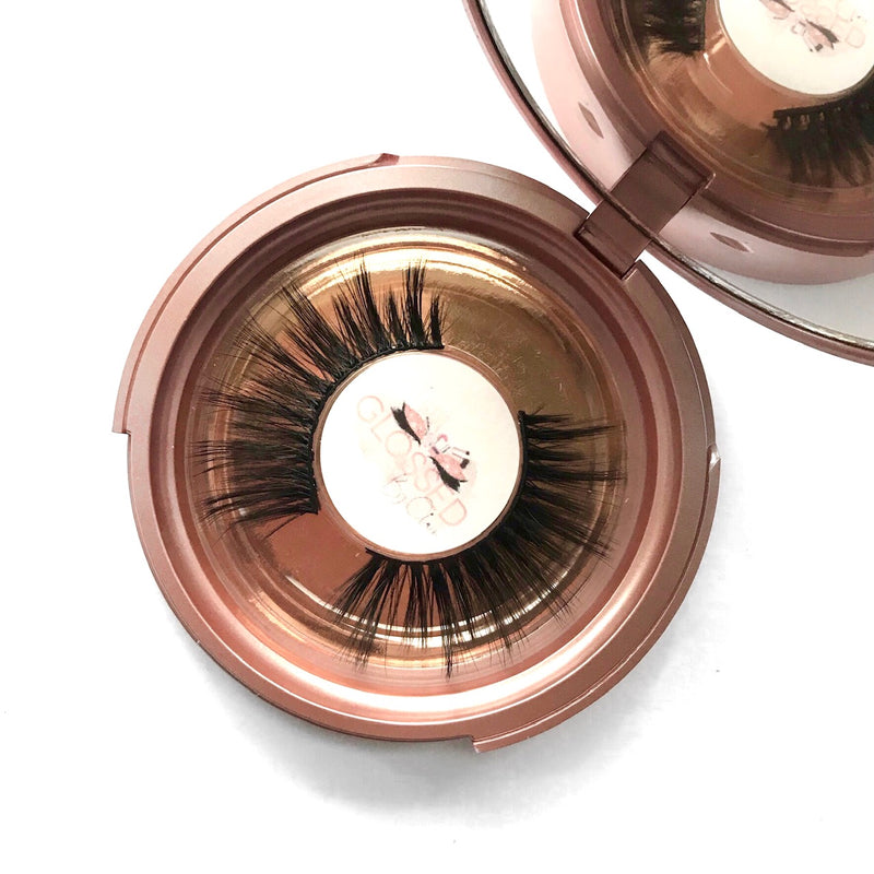 Level Up eyelashes in rose gold mirror compact - Glossed By Claire