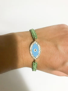 Green Weave Evil Eye Bracelet