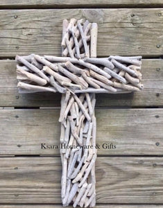 Whitewash driftwood cross