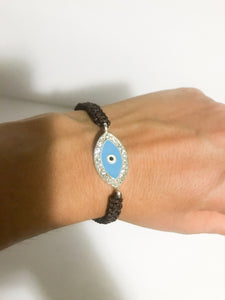 Evil Eye Brown Weave Bracelet