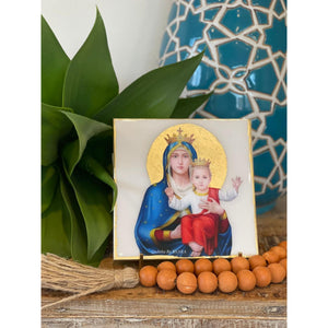 Blessed Virgin Mary on Italian White Marble with Stand