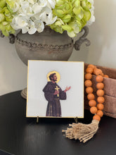 Load image into Gallery viewer, St. Francis of Assisi on Italian White Marble with Stand