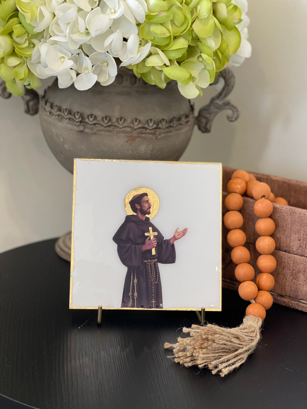 St. Francis of Assisi on Italian White Marble with Stand
