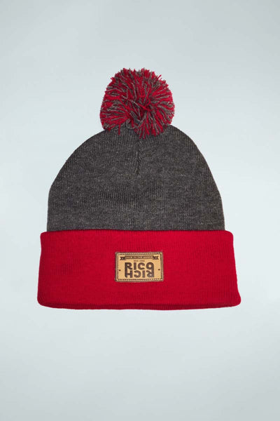 Beanie Pom Pom - Mirror Patch - Grey & Red