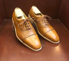 Load image into Gallery viewer, Elena Chestnut With Blue Trim Men's Shoes