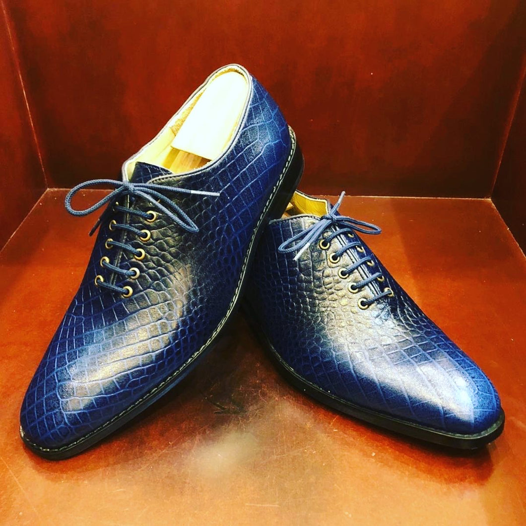 Juan Blue Croc Printed Leather Men's Shoes