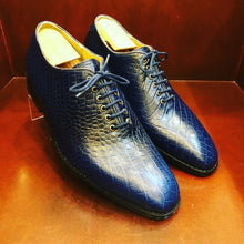 Load image into Gallery viewer, Juan Blue Croc Printed Leather Men's Shoes