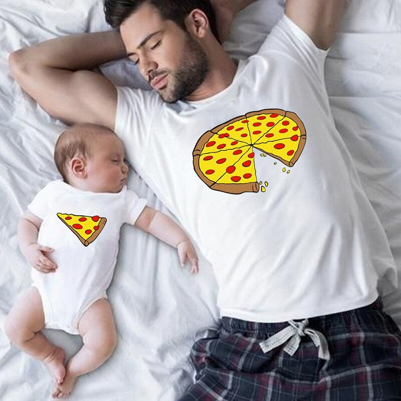 """Besties"" Parent & Child Matching T-shirts (Pizza): GINO"