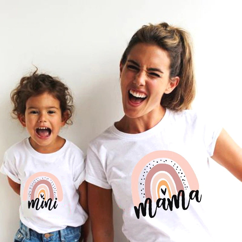 """Besties"" Mom & Child Matching T-shirts: (Rainbow): RENA"