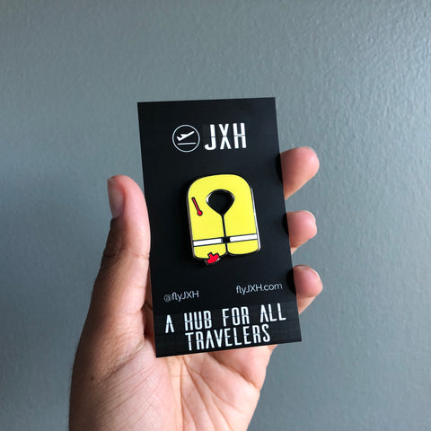 Life Vest Hard Enamel Pin with custom JXH card back