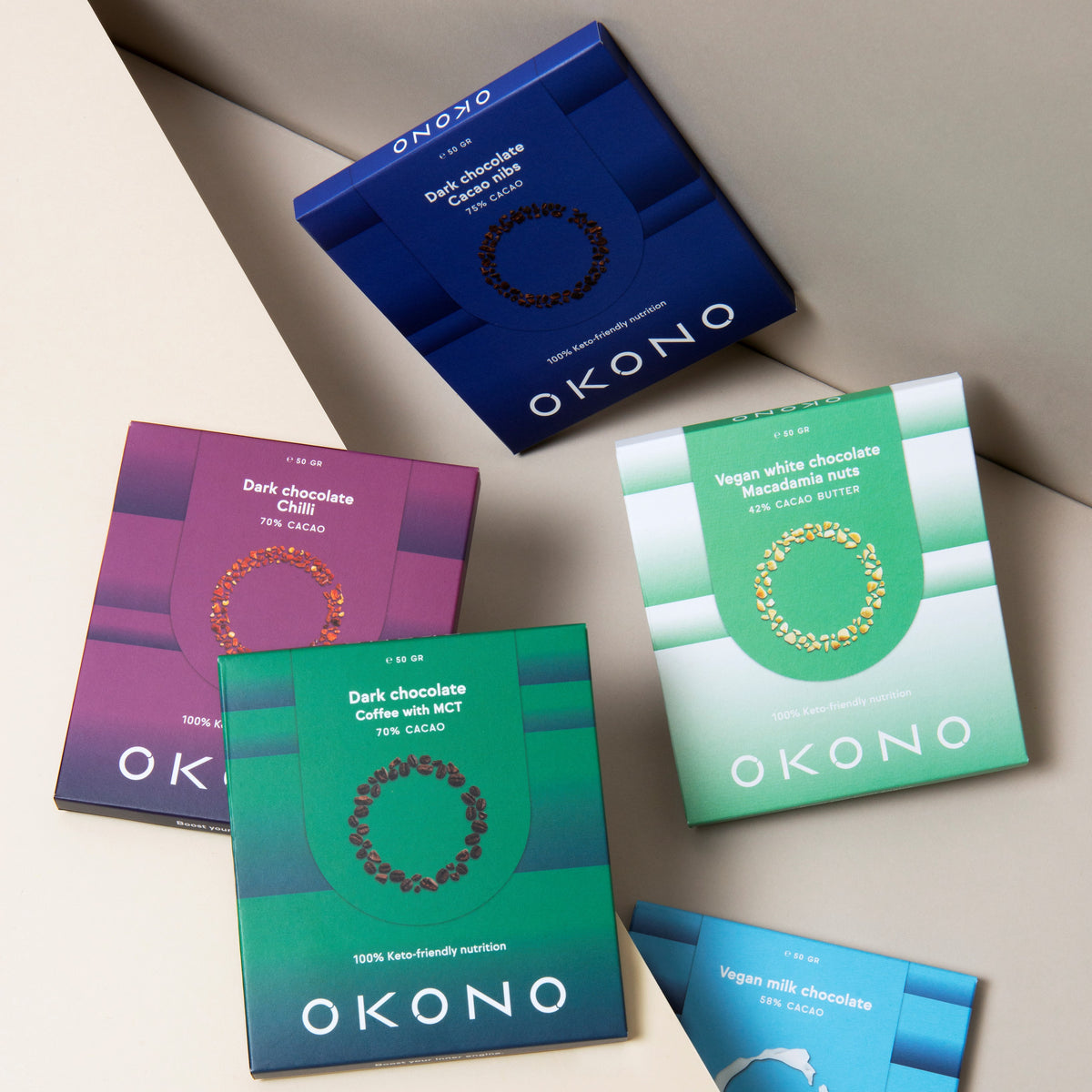 Okono Various Keto Chocolates with different tastes. The chocolates are gluten free, sugar free, keto friendly and lactose free! Even guilty free