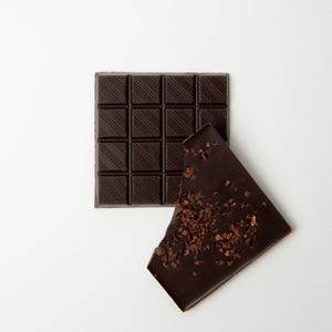 dark chocolate cacao nibs bar