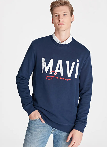 mavi Sweatshirt Blue Logo Printed Navy