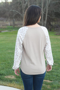 Cheetah Sleeve Ribbed Top