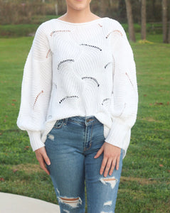 The Sophia | Wave Hem Batwing-sleeve Sweater