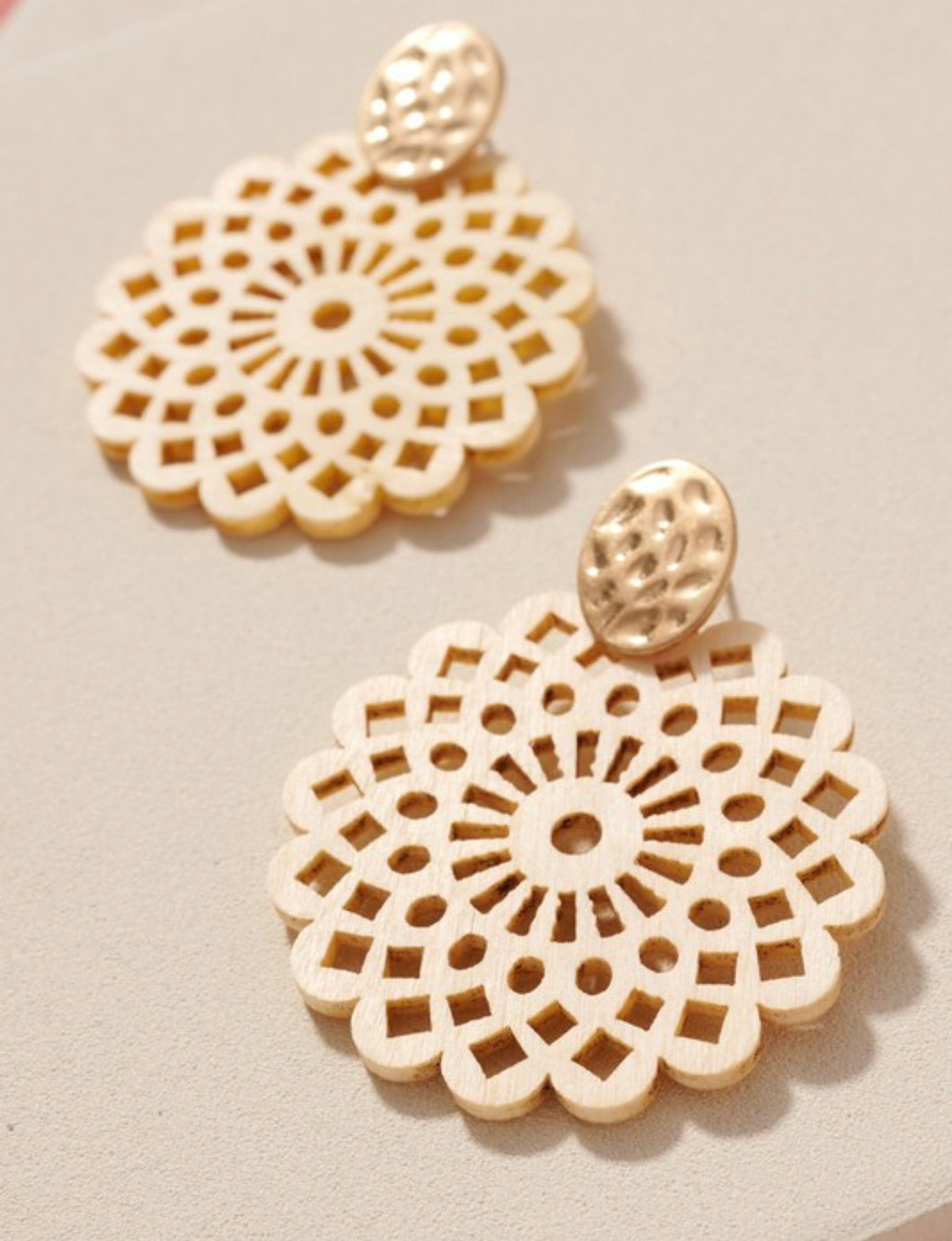 Floral Wooded Earrings