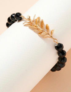 Gold Leaf Beaded Bracelet