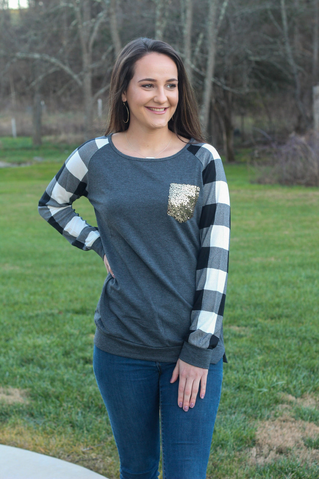 Buffalo Plaid Shimmer Pocket Top
