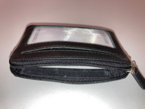 Leather Coin Purse with zipper and snap closure