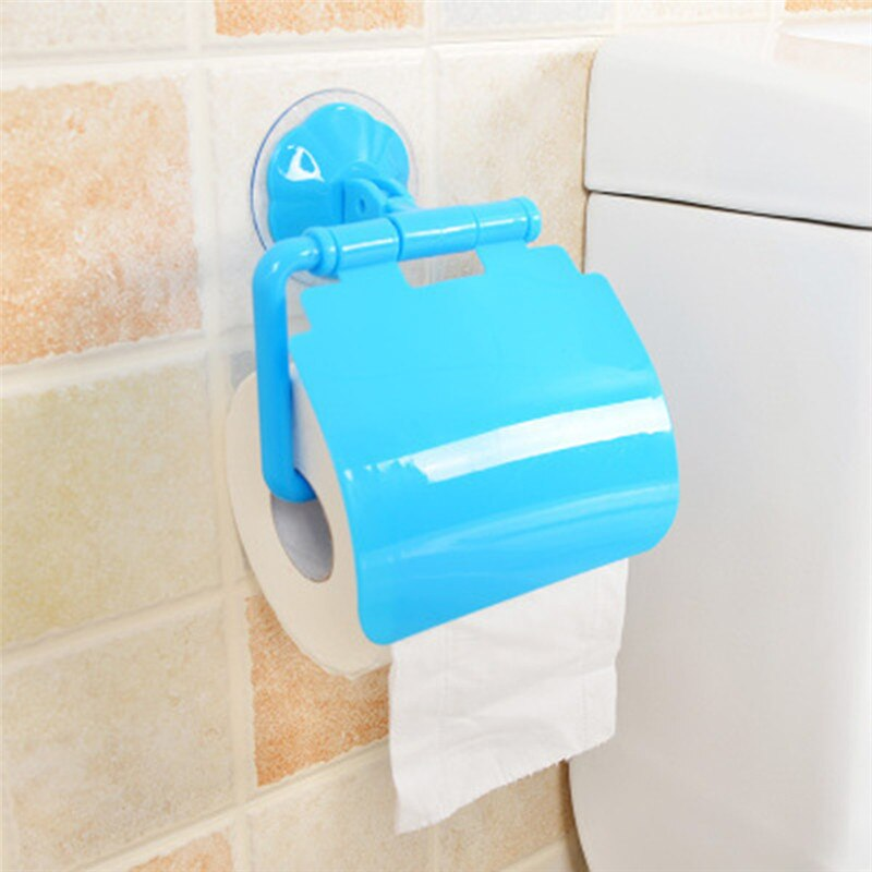 Portable Wall Suction Cup Toilet Paper Holder Tissue Holder Rack Roll Stand Bathroom Waterproof Storage Box