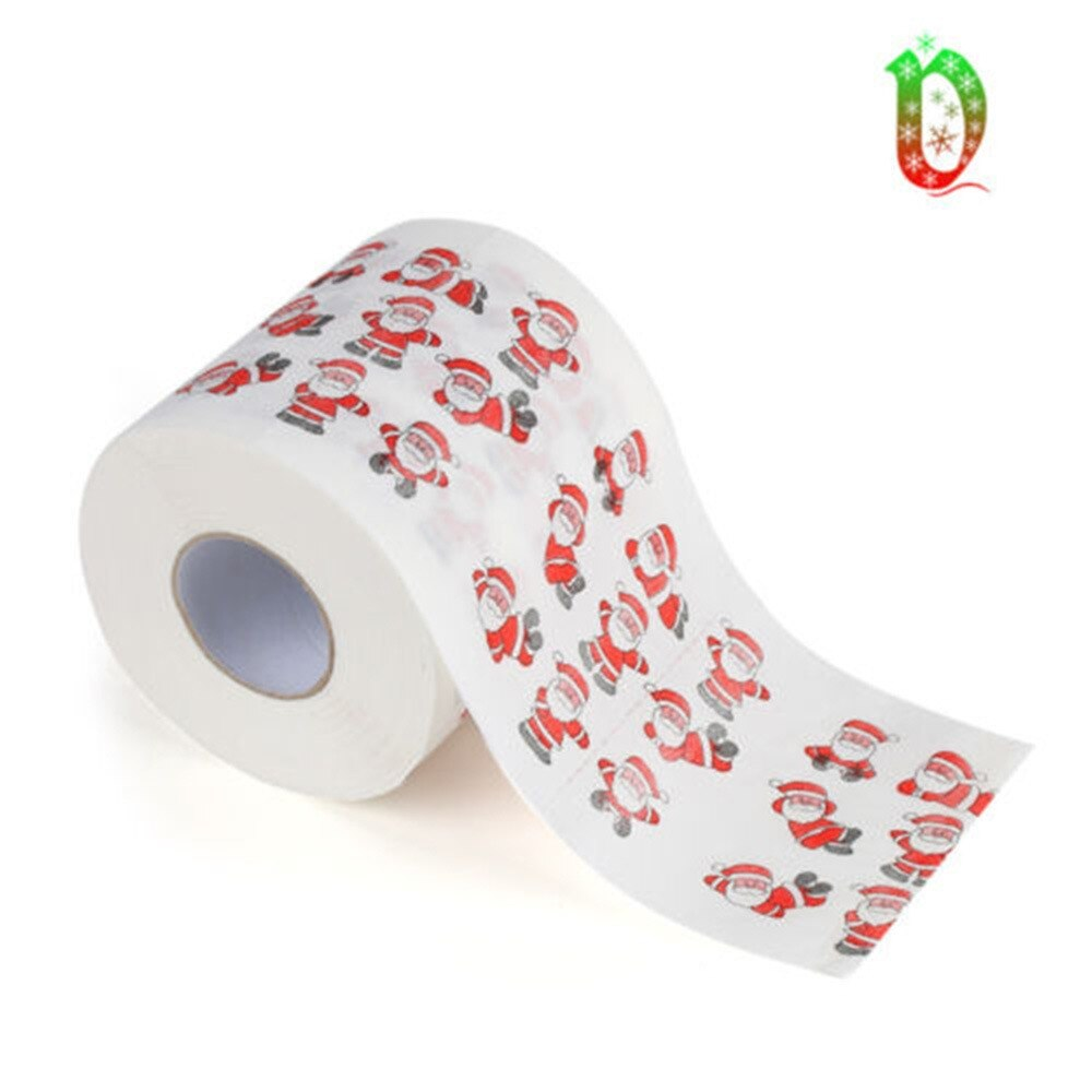1Roll Novelty Christmas Tree Santa Claus Elk Pattern Toilet Paper Tissue Napkin Toilet Roll Paper Home Hotel Living Room Supplie