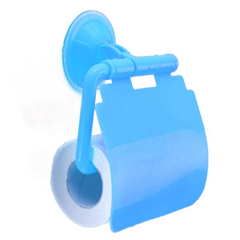 Toilet Paper Roll holder towel rack with lid Wall Mounted Plastic Suction Cup Bathroom Accessories Holder With Cover home
